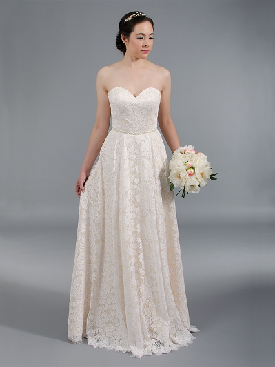 Strapless lace wedding dress with all over lace 4047
