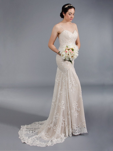 Spagetti strap mermaid wedding dress 4048