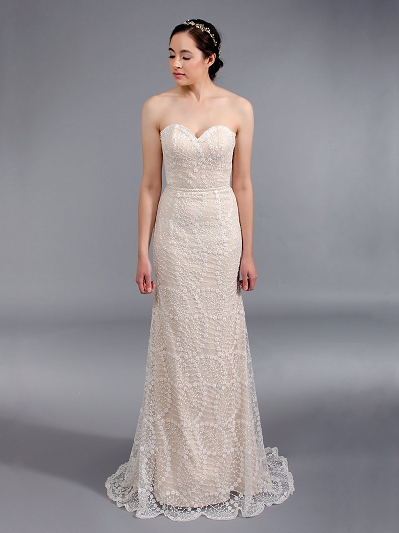 Beaded fit and flare wedding dress 4050