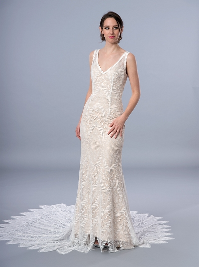 Bohemian sleeveless lace wedding dress 4066