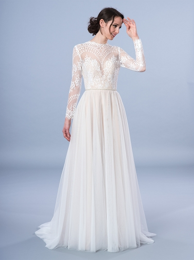Long sleeve lace wedding dress 4067