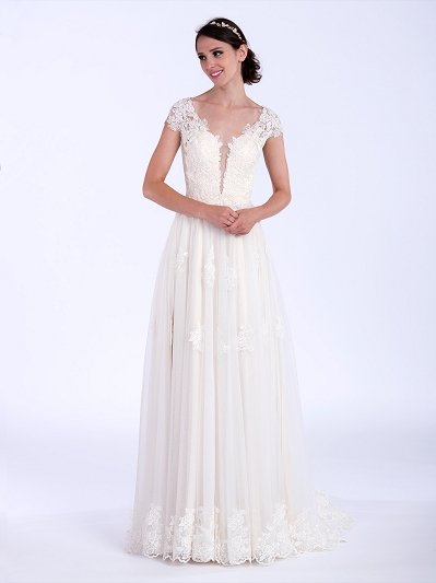 Cap sleeve lace wedding dress 4081