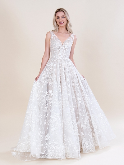 All over lace wedding dress 4084