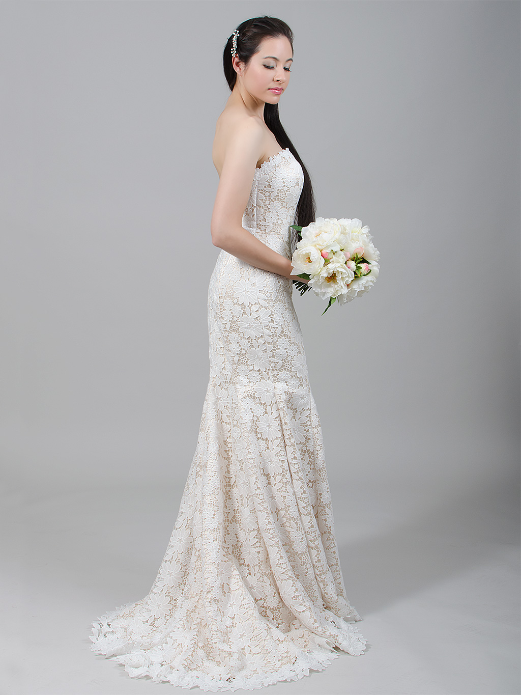 Champagne strapless lace wedding dress with venice lace 4023
