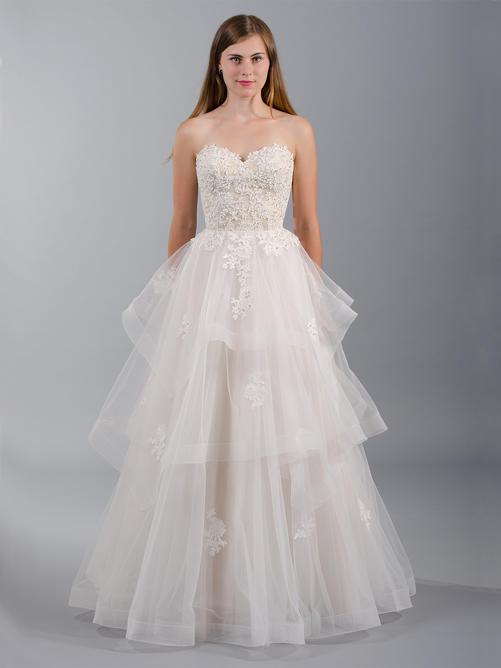 Strapless lace wedding dress 4040