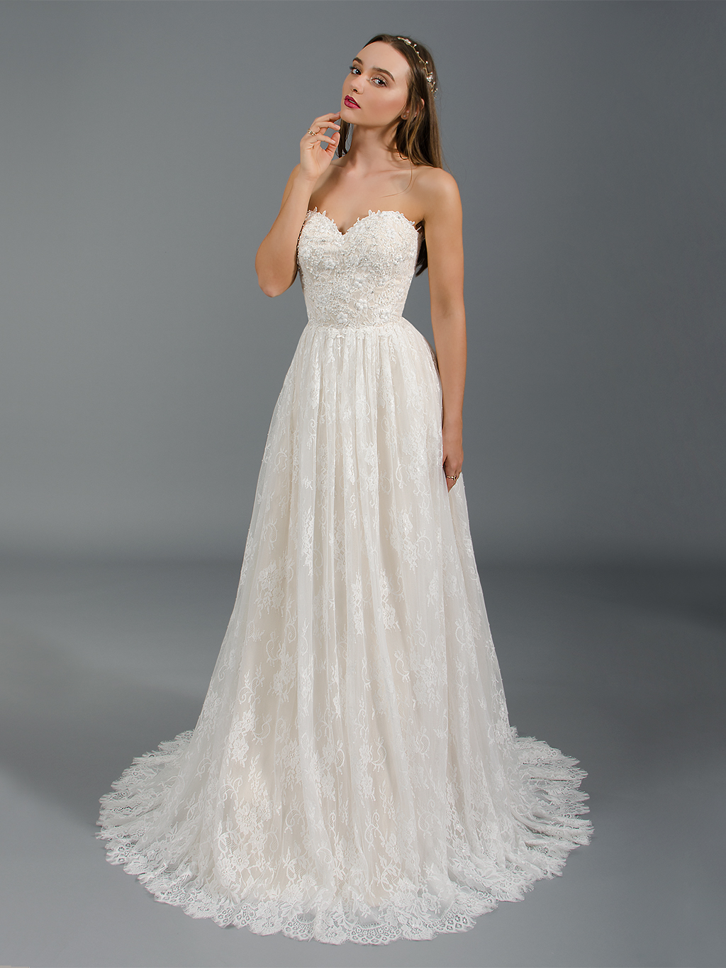 Strapless lace wedding dress with allover lace 4043