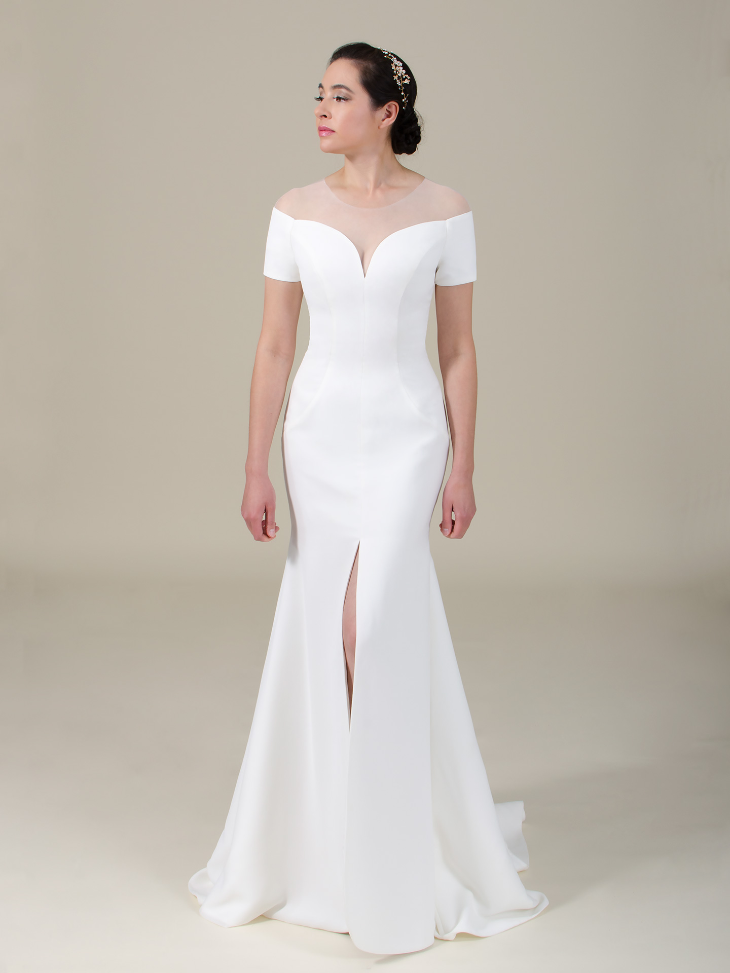 3474a39e6dd2 Add to My Lists. Off the shoulder crepe wedding dress 4059