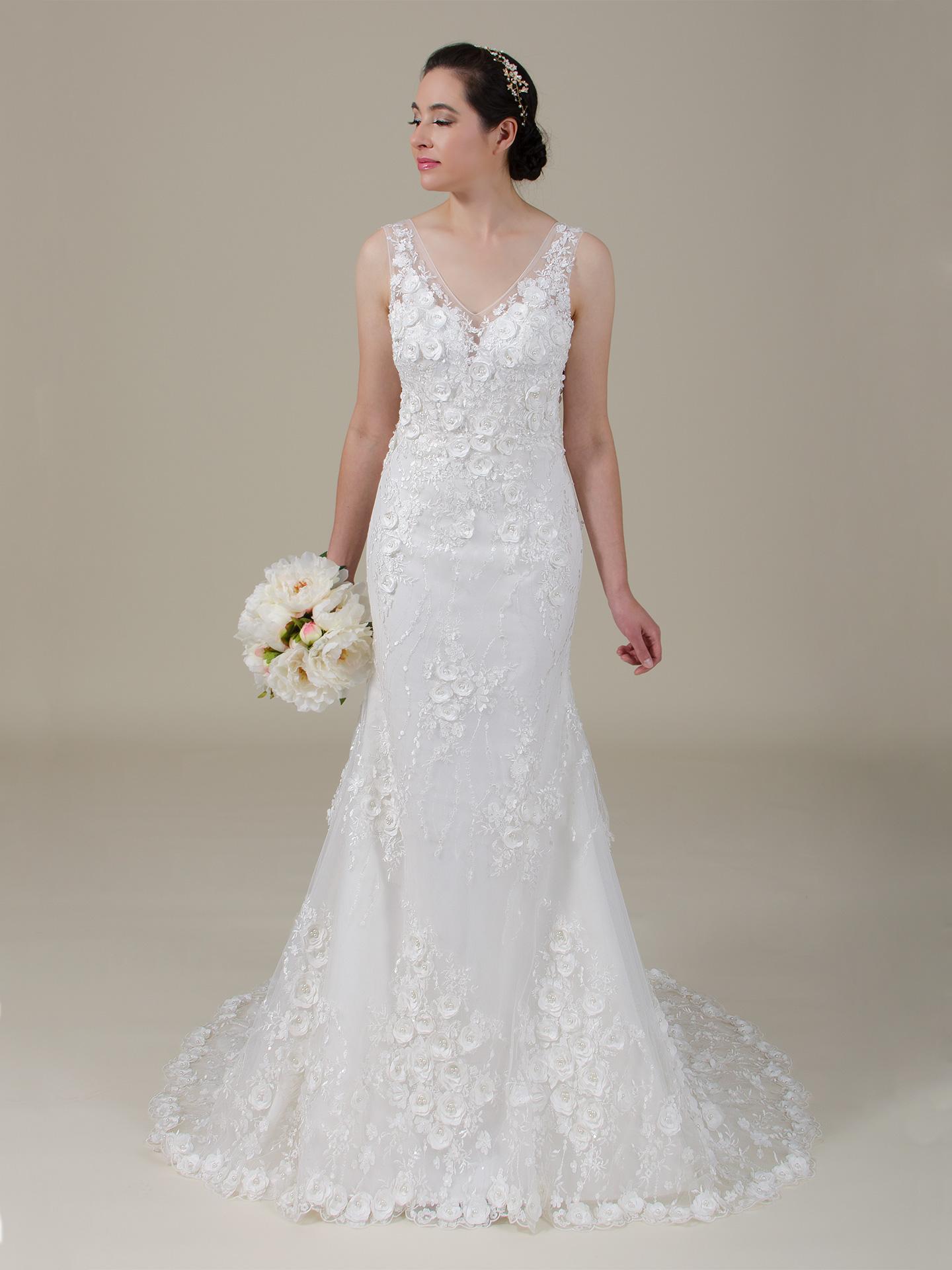 3d Flowers Lace Wedding Dress 4062