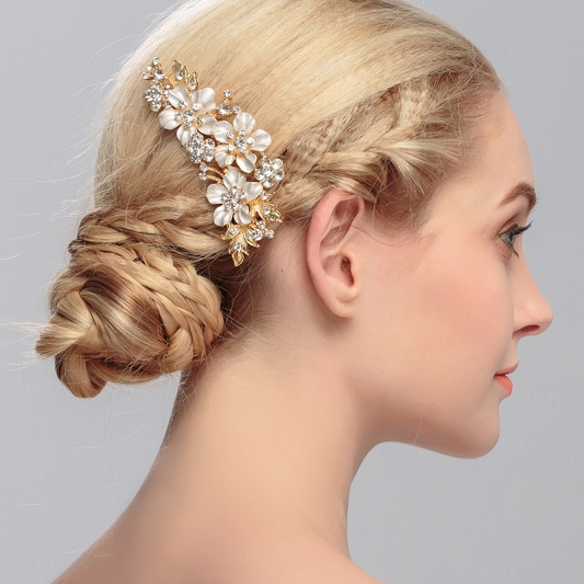 Golden Rhinestone Hair Comb HC001