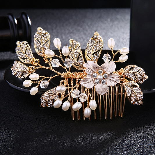 Golden Rhinestone Hair Comb HC002