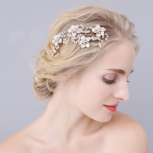 Rhinestone and Pearl Hair Comb HC004