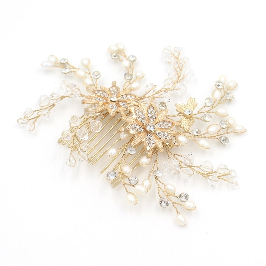 Rhinestone and Pearl Hair Comb HC005