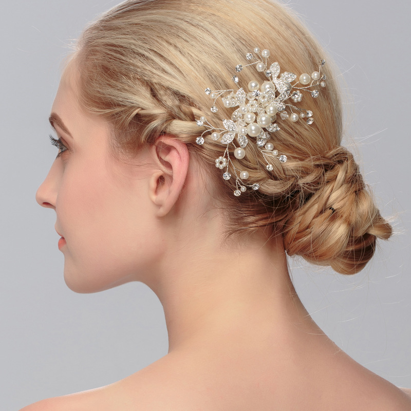 Rhinestone and Pearl Hair Comb HC006