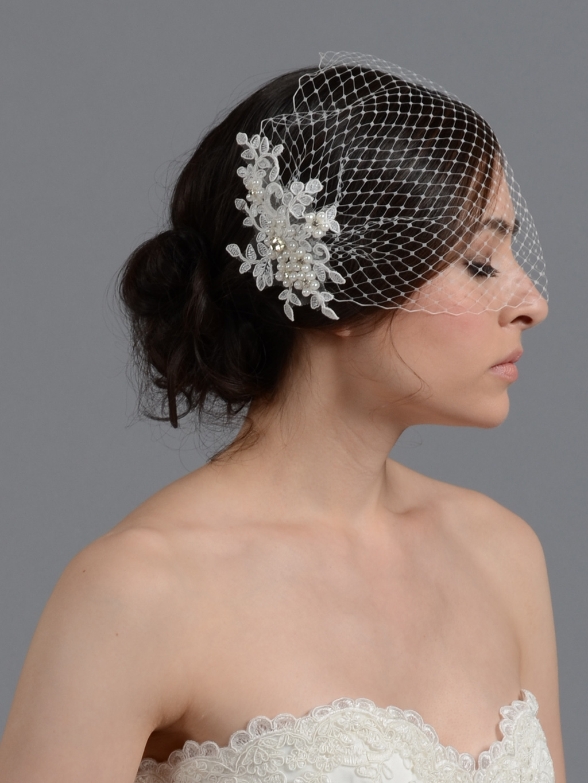 Ivory Blusher Birdcage Veil With Alencon Lace Bvf010