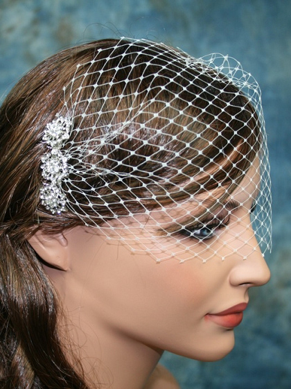 Bandeau style ivory birdcage veil with rhinestone hair comb - bbvr003