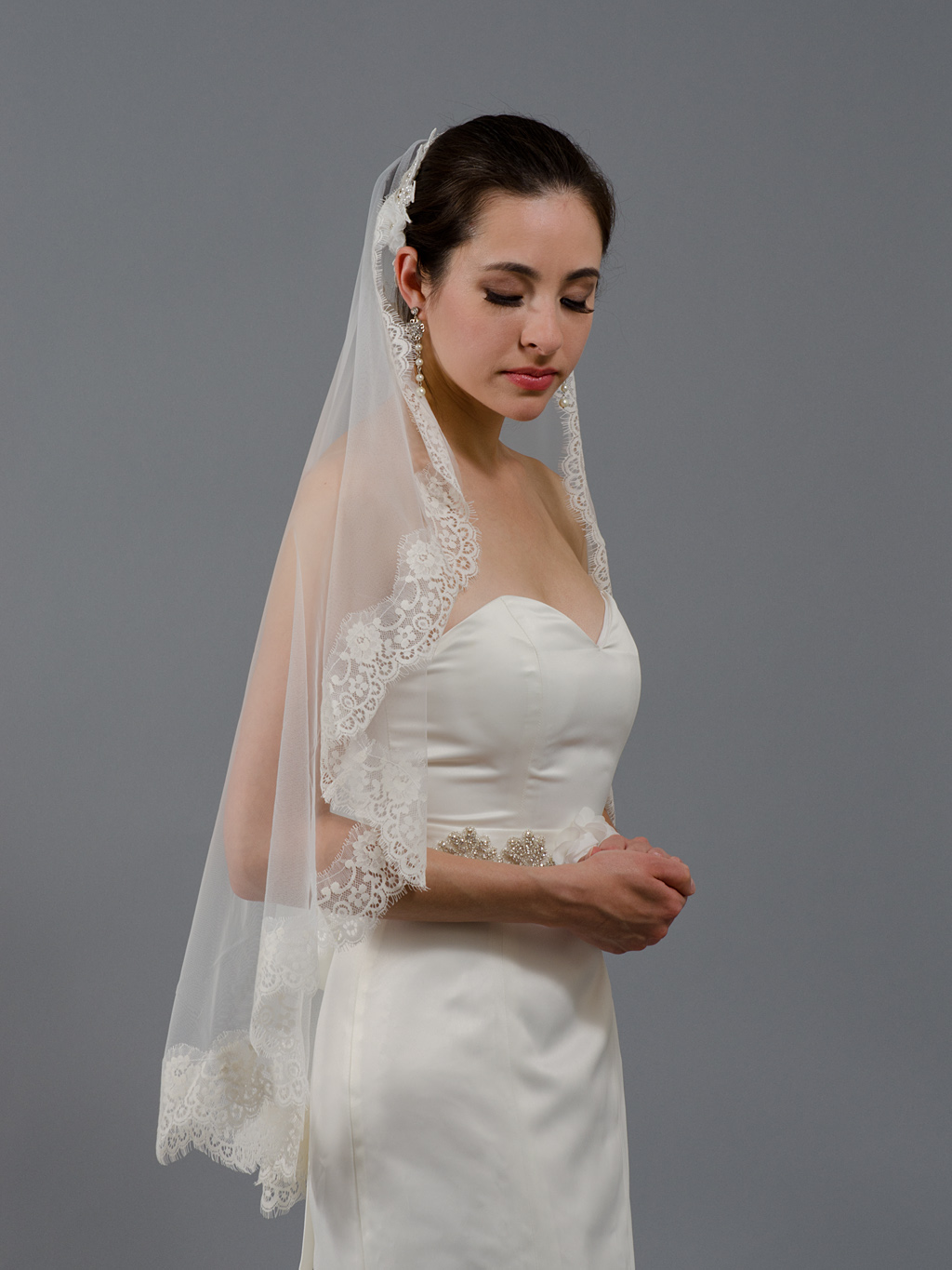 Wedding Mantilla Veil Light Ivory Bridal Veils V026