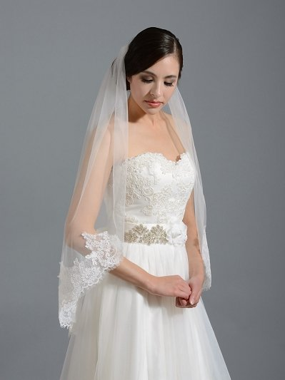 Ivory elbow alencon lace wedding veil V038