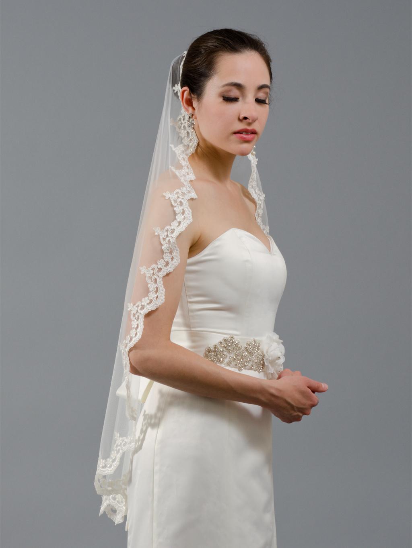 Bridal Mantilla Veil Alencon Lace V040 White Ivory