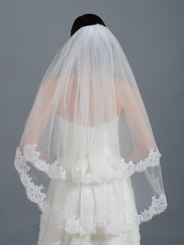 2 Tier Ivory Elbow Alencon Lace Wedding Veil V042