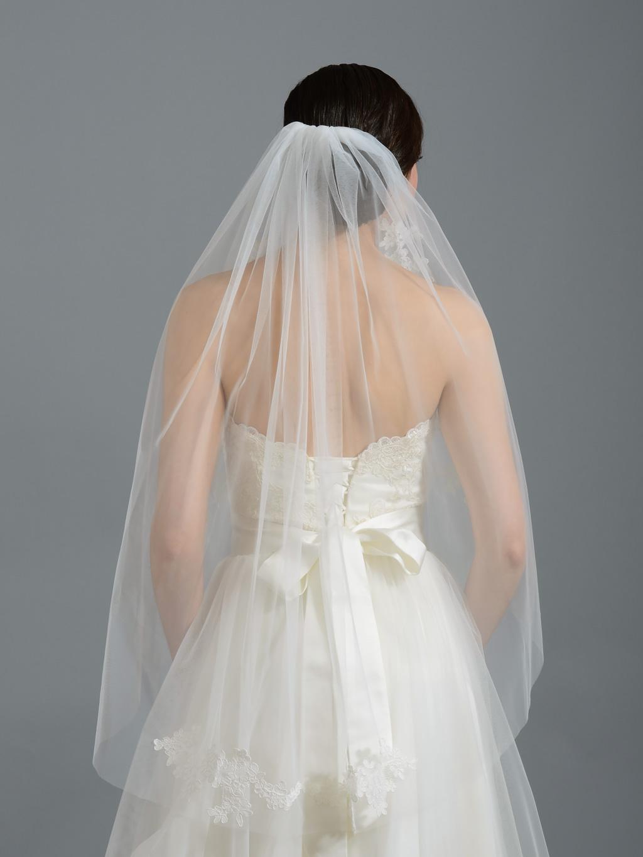 Ivory Elbow Wedding Veil V052n Alencon Lace
