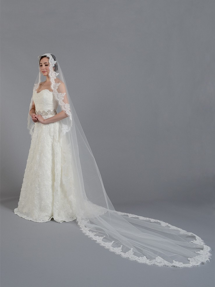 Ivory cathedral alencon lace wedding veil V033c
