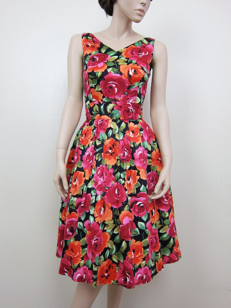 Vintage inspired dress bridesmaid dress cotton sateen printed flowers