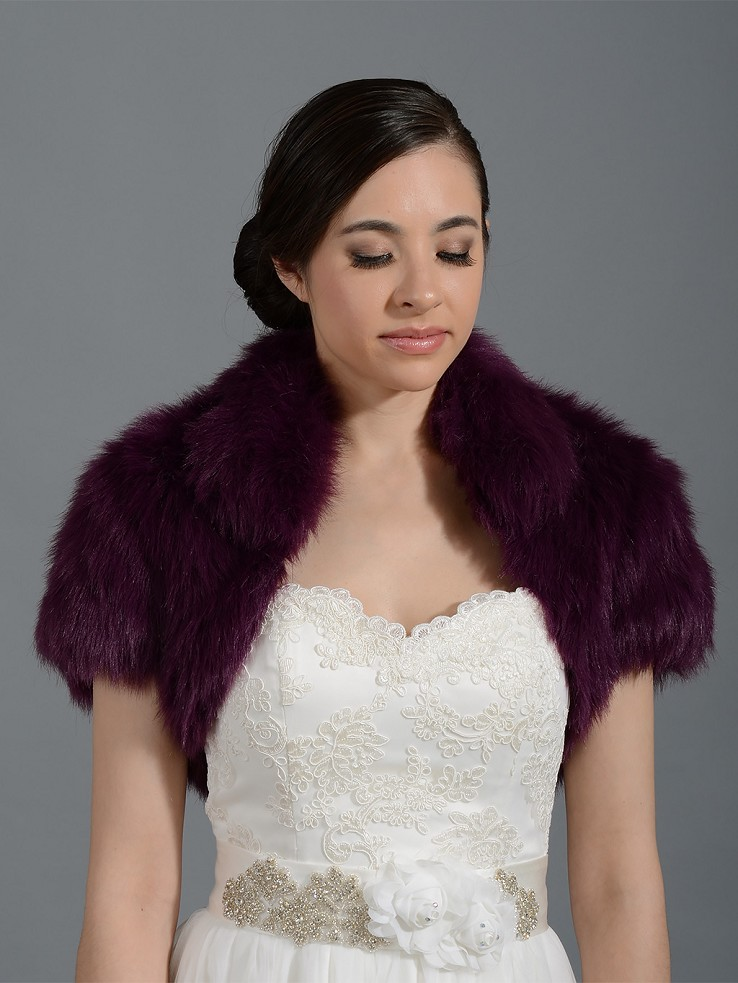 Purple faux fur jacket shrug bolero Wrap FB003_Purple