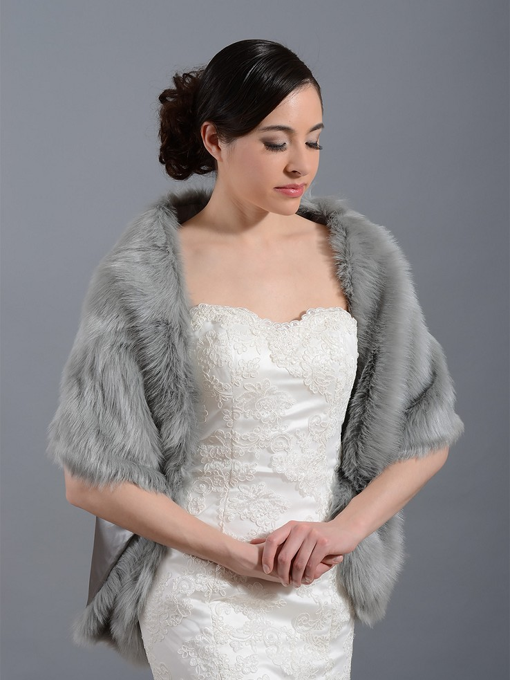 Faux fur stole bridal wrap shrug FW010