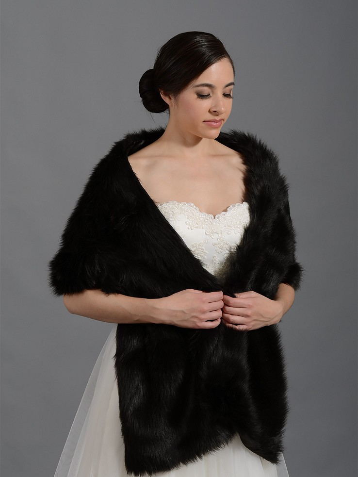 Black faux fur stole bridal wrap shrug A002_Black