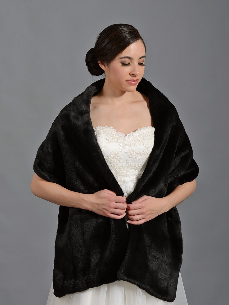 Black faux fur bridal wrap shrug stole shawl FW004_Black
