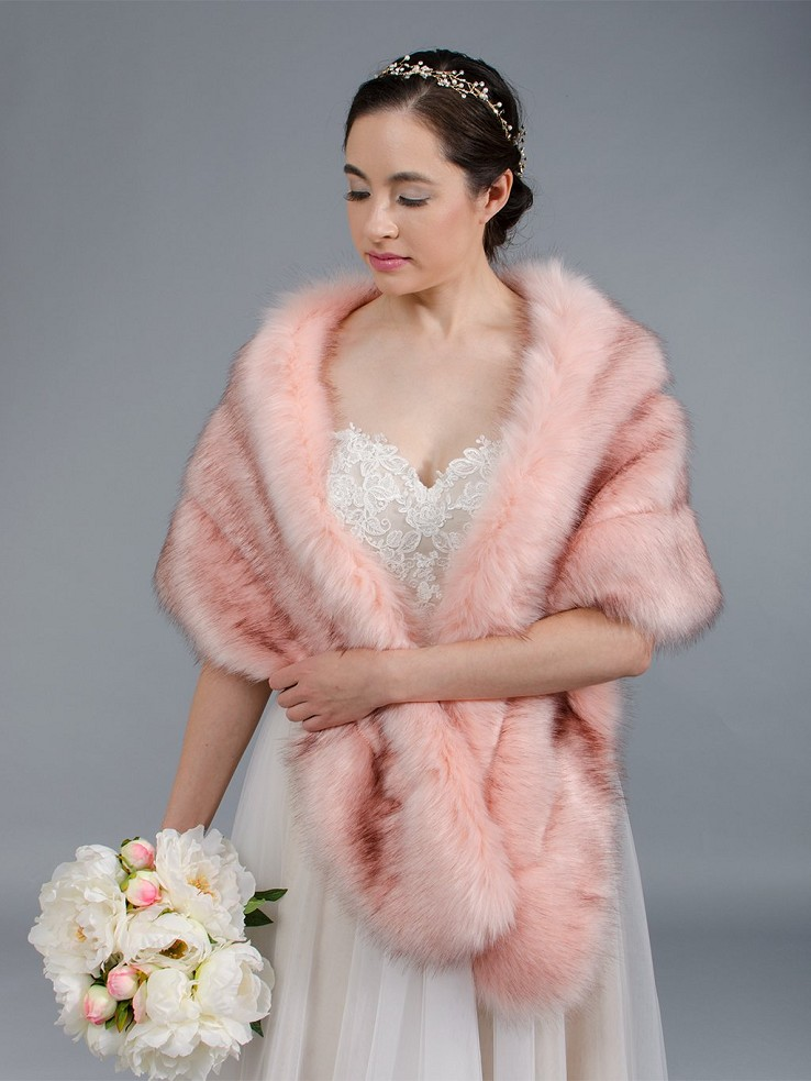 Blush pink faux fur wrap bridal stole B001-Pink