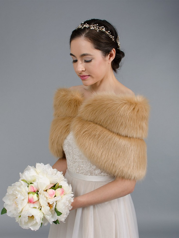 Caramel faux fur wrap bridal stole shawl