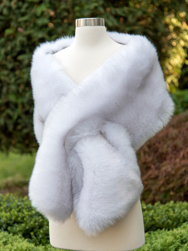 Light Gray faux fur wrap bridal stole B005-Light-Gray