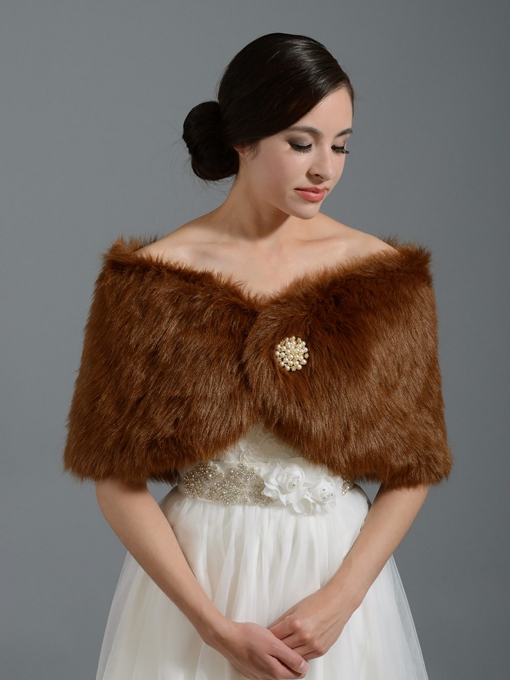 Brown bridal faux fur wrap stole shawl FW005_Brown