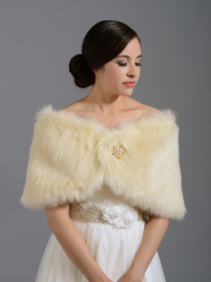 Champagne Bridal Faux Fur Wrap Stole Shawl Fw005 Champagne