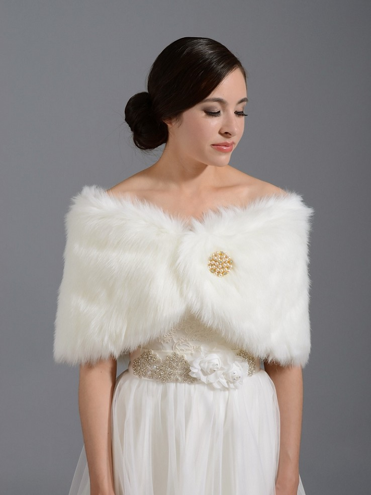 Faux fur wrap bridal stole shawl with plus size