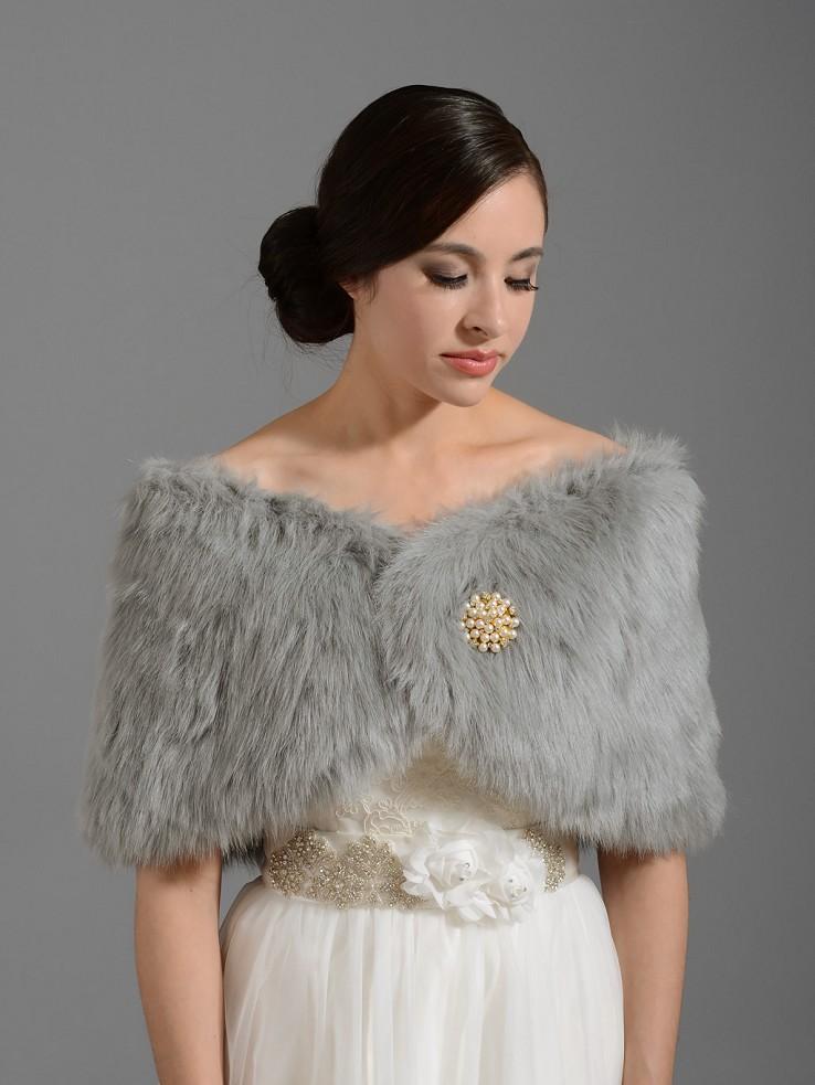 Silver Bridal Faux Fur Wrap Stole Shawl Fw005 Silver