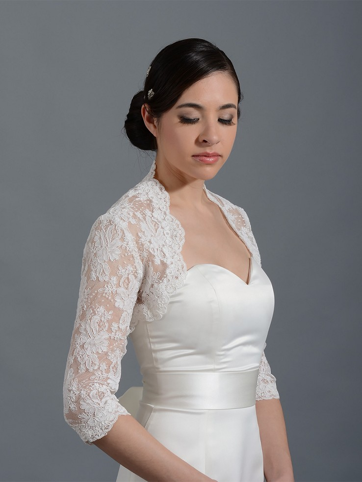 3/4 sleeve bridal alencon lace bolero jacket - 042