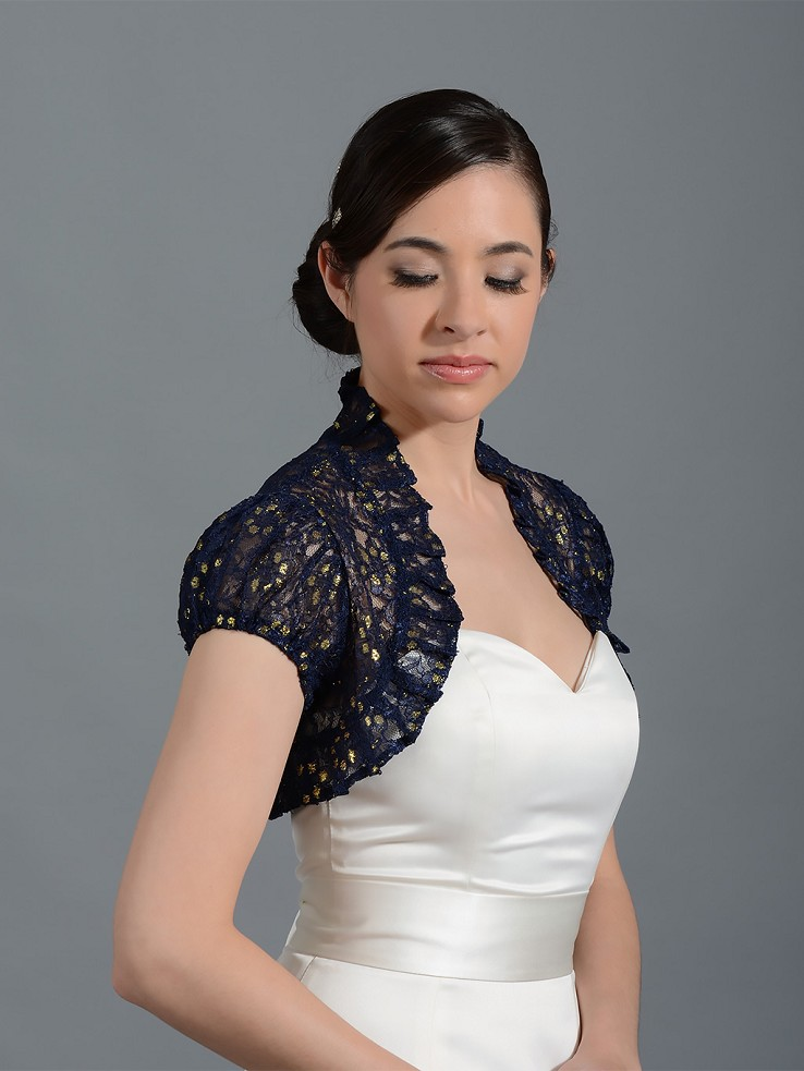 Navy Blue short sleeve corded lace wedding bolero jacket Lace_043