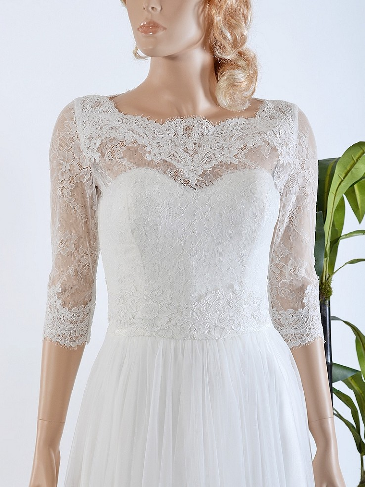 Bridal bolero lace wedding dress topper WJ019
