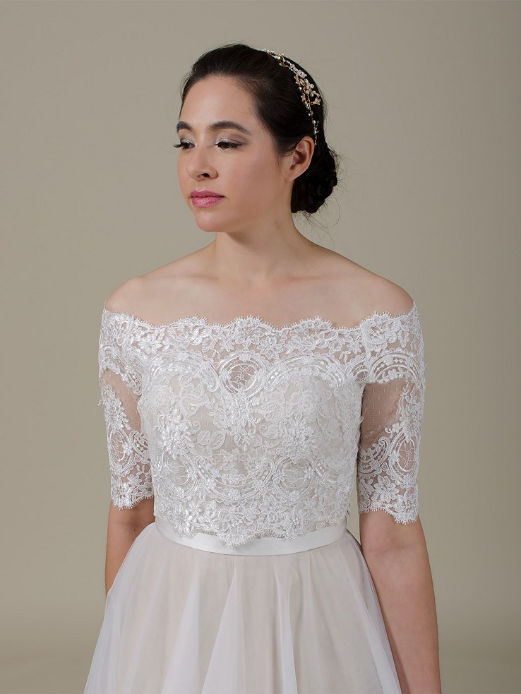 Off-Shoulder Lace Bolero Wedding jacket wedding dress topper WJ044