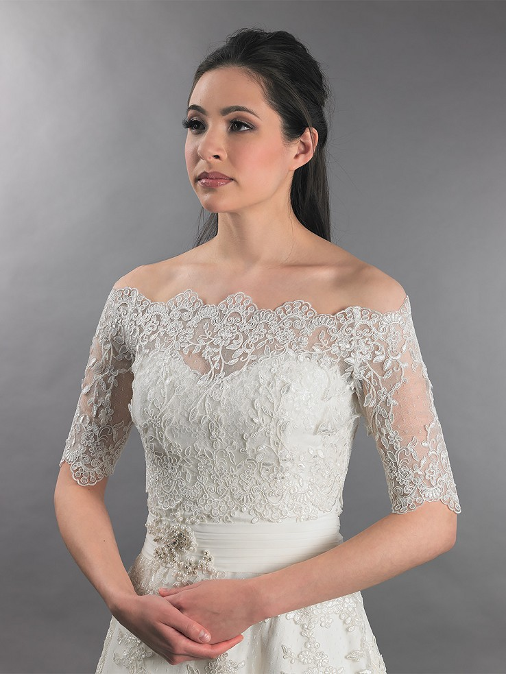 Off-Shoulder Bridal Bolero Wedding jacket dot lace WJ010
