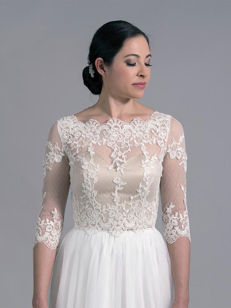 Bridal Bolero Lace Wedding Dress Topper Wj022