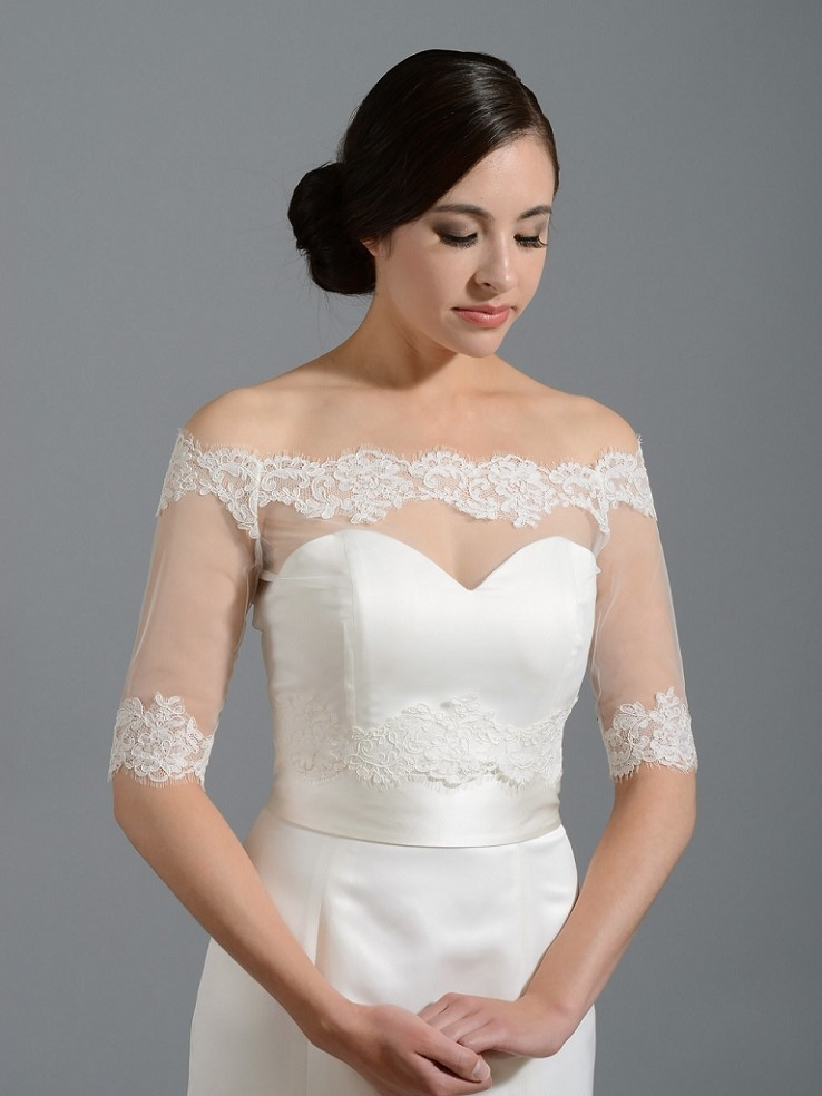 Off-Shoulder Alencon Lace Bolero Wedding jacket