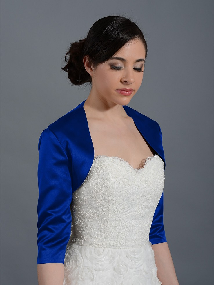Blue 3/4 sleeve wedding satin bolero jacket Satin009_Blue