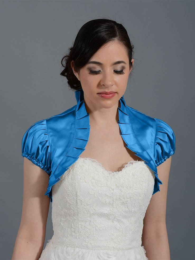 Bright Blue sleeve wedding satin bolero jacket