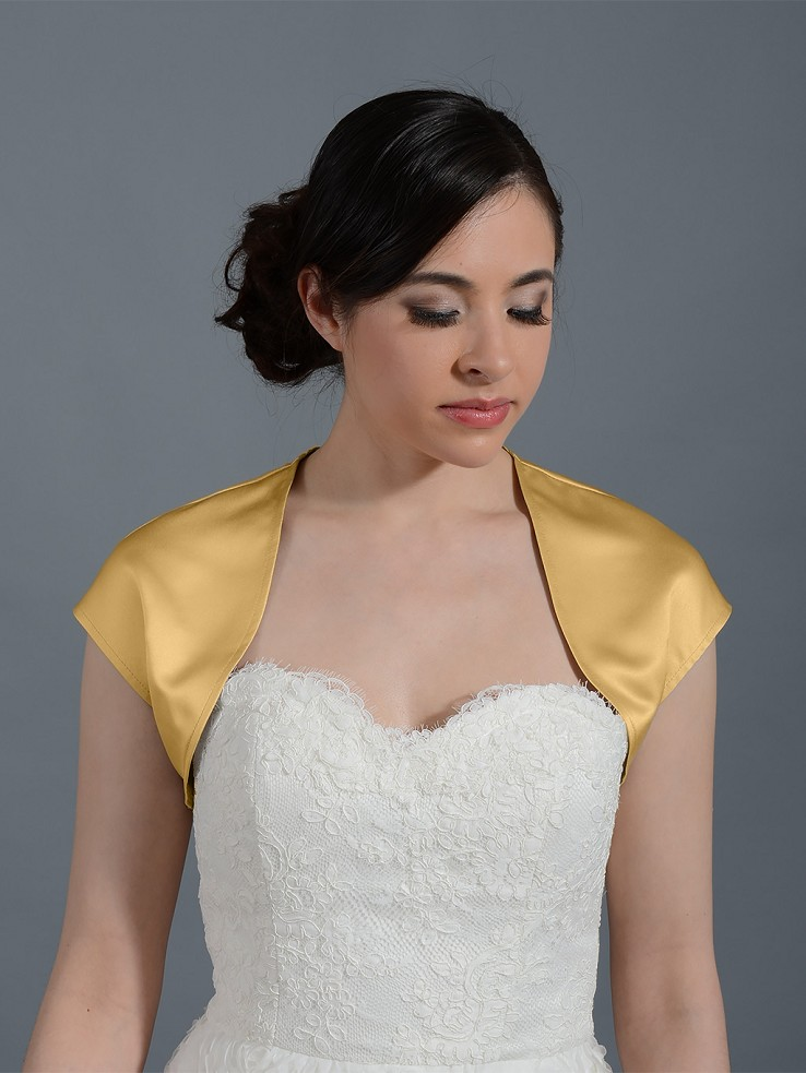 Gold sleeveless satin wedding bolero jacket Satin007_Gold