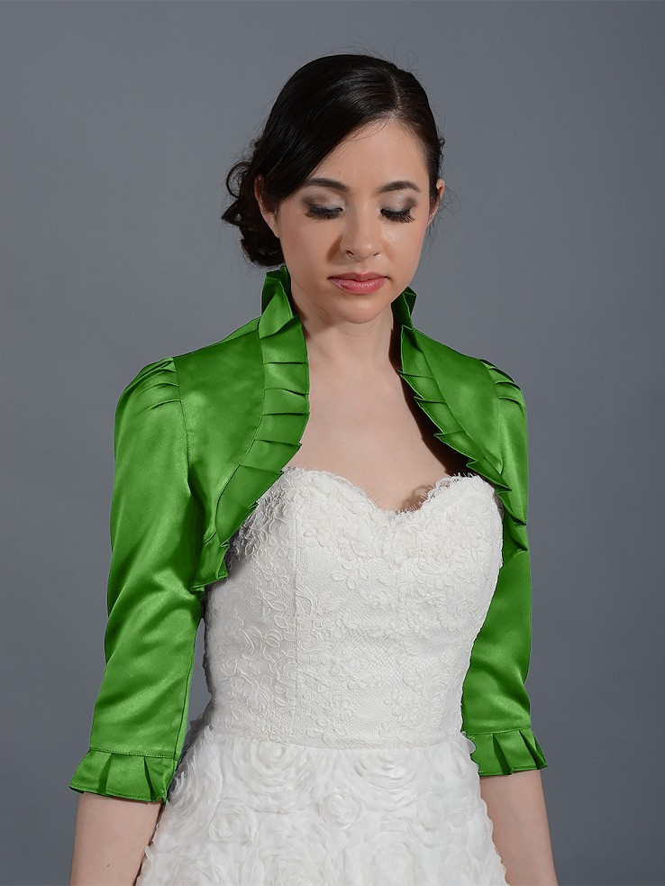 Moss Green 3/4 sleeve wedding satin bolero jacket satin008_MossGreen