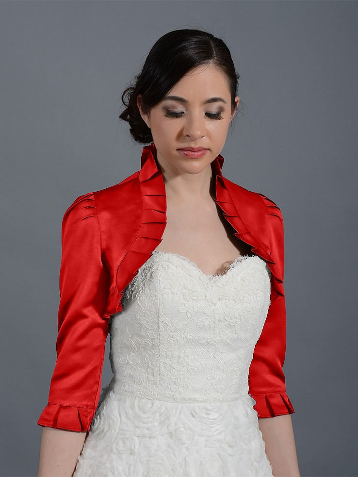 Red 3/4 sleeve satin wedding bolero jacket Satin008_Red