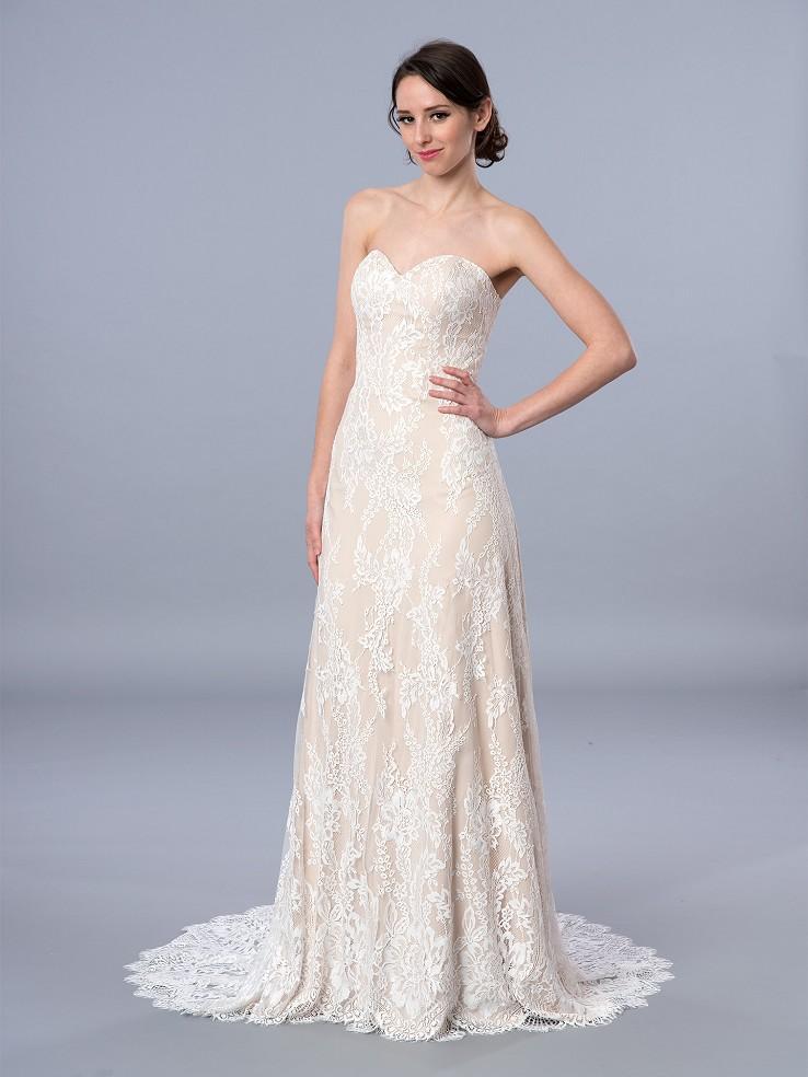 Boho style strapless lace wedding dress 4064